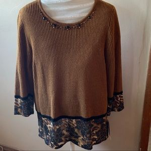 Alfred Dunner Leopard Print & Beaded Sweater